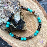Men's Smokey Quartz, Petrified Wood & Turquoise Beaded Bracelet
